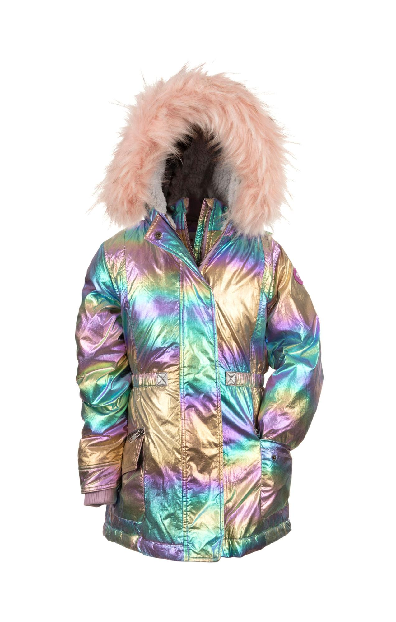 Appaman Middie Puffer Coat in Rainbow Ombre