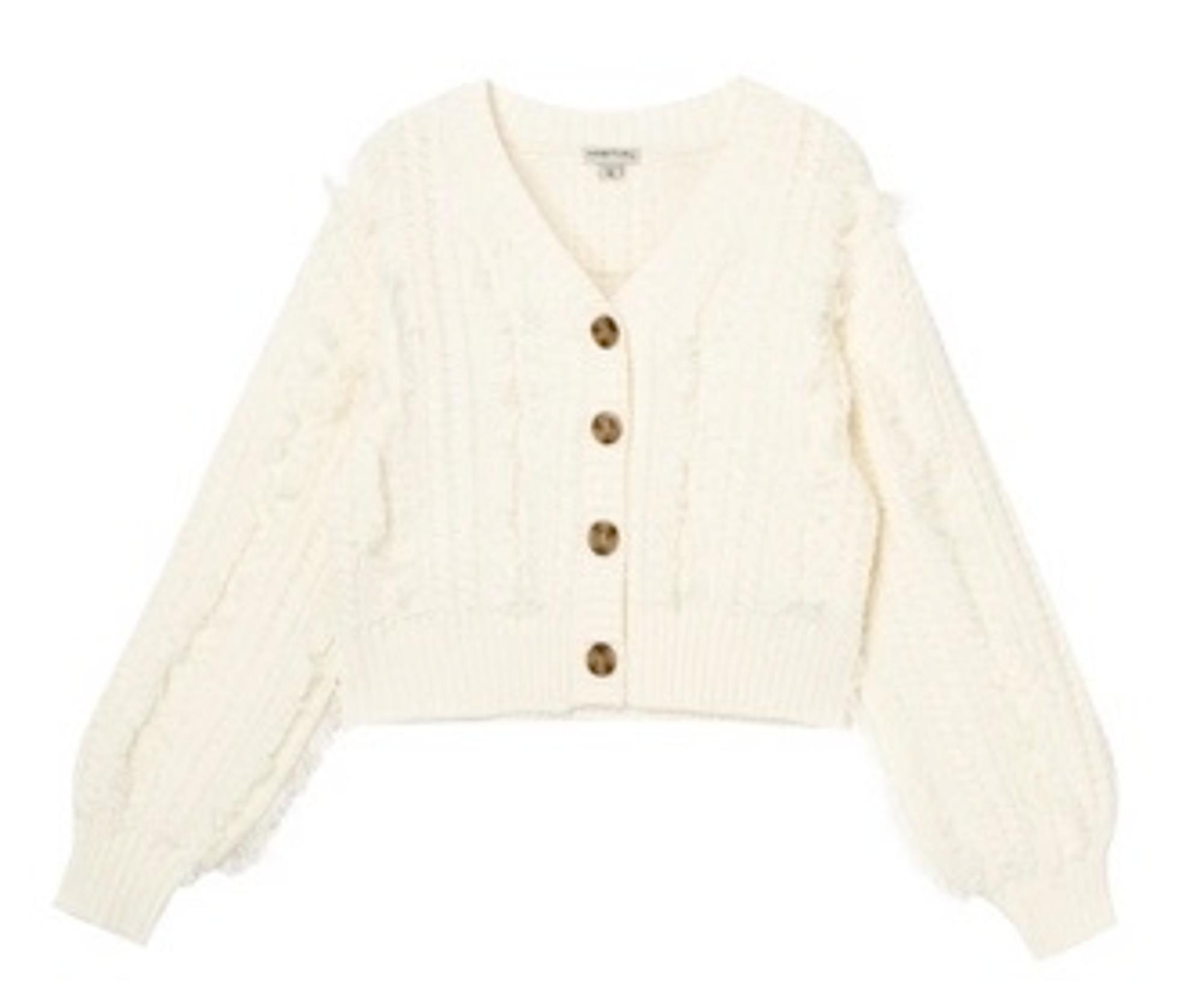Habitual Kids Sweater with Cable and Fringe Detail
