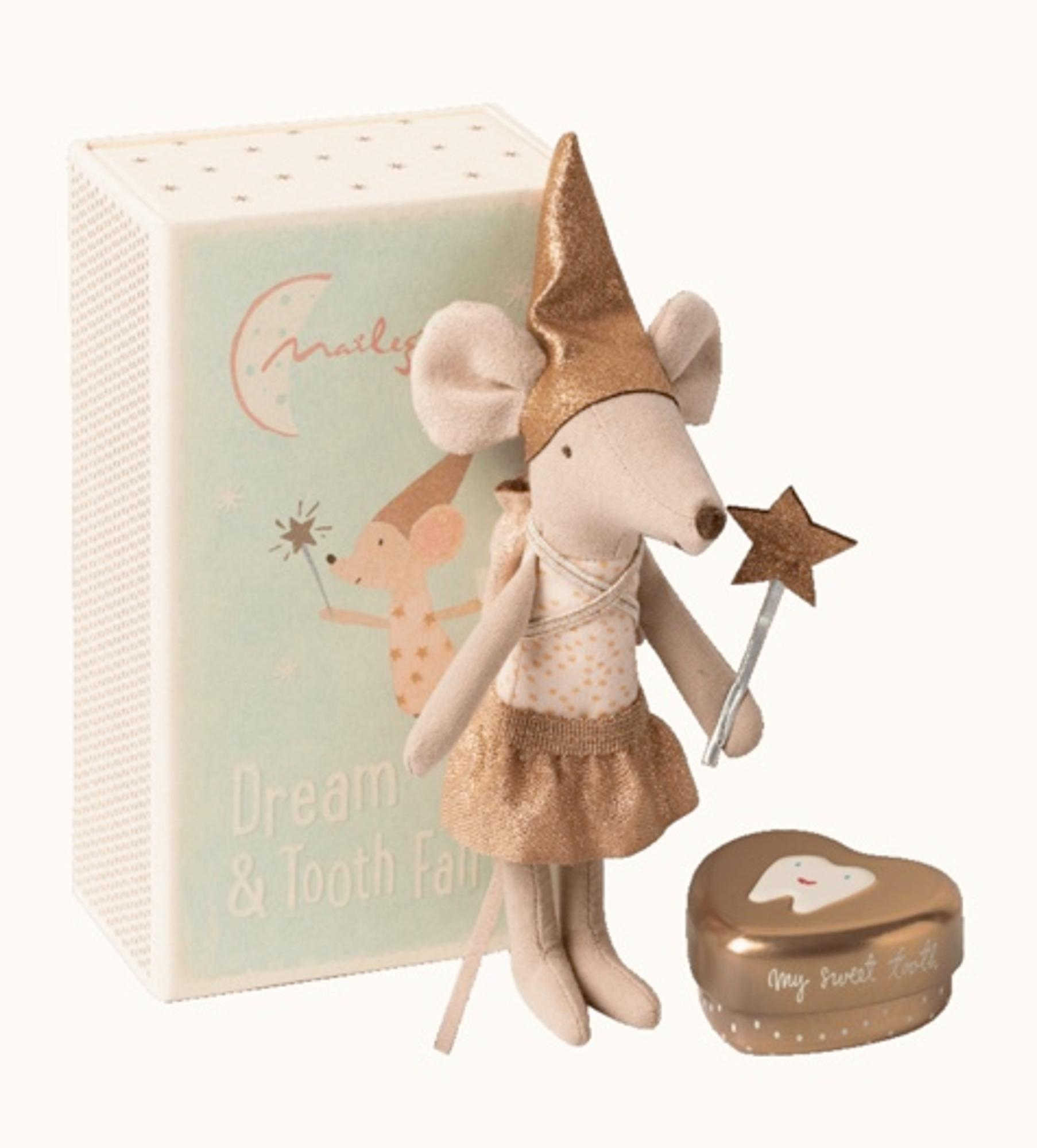 MAILEG TOOTH FAIRY: BIG SISTER MOUSE WITH TOOTH BOX